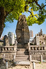 A cemetery and pillar tombstones at the Sensoji Temple in Osaka, Japan, Asia.