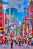 A shopping street with pedestrians in the Shibuya district of Tokyo, Japan, Asia.