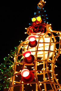 Snowman made of lights  (C) 2008 Brian Neal