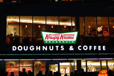 The hottest spot in Shinjuku -- an hour long line feeds in to the main line with a 45 minute wait.  Two hours for Krispy Kreme!  (C) 2008 Brian Neal
