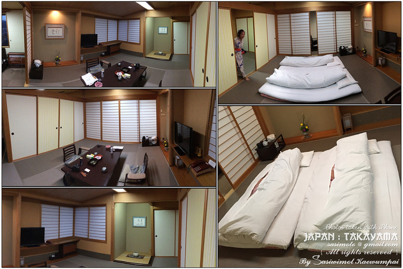 A multi-purpose room, serving as sitting room, dining room and at night, bedroom. The traditional rooms are floored with Tatami straw matting.. I guess this is a semi-moderned style then. At night, a table gets moved aside and replaced with rolled out Foton (thick mattresses) which normally stored in a closer during the daytime. In the morning, hotel maid will put the Foton back in the closet for you.