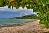 A sandy beach on Teketomi Island, Okinawa, Japan.