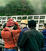 Sightseers in the Fog, Fifth Station, Mount Fuji, Japan