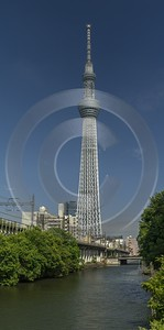 Skytree Tokyo City Blue Sky Tower Attraction Spring Lake Rain Art Prints For Sale Stock - 024032 - 26-05-2016 - 7574x15301 Pixel