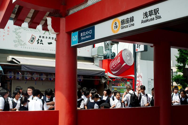 Exiting the Tokyo Metro at Sensō-ji temple