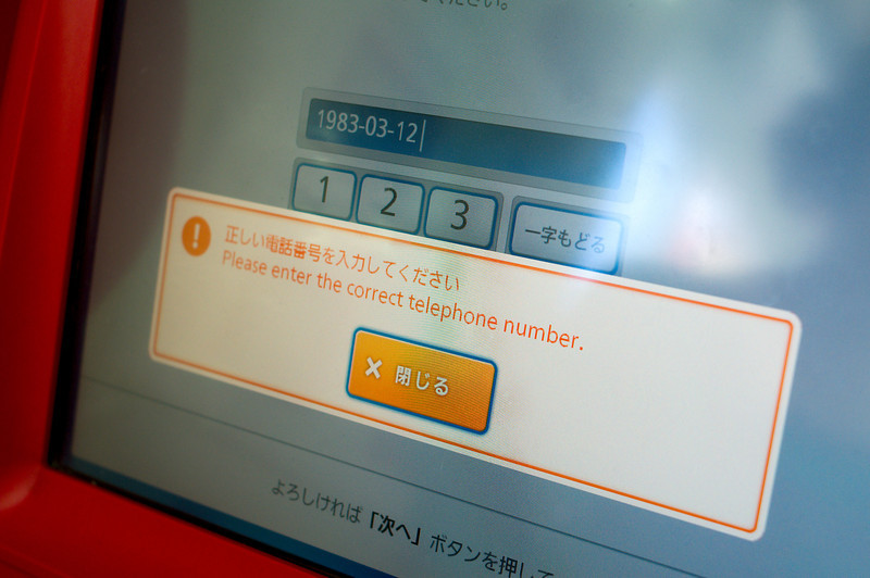 Antonia trying to purchase museum tickets from a dispenser with limited English translations