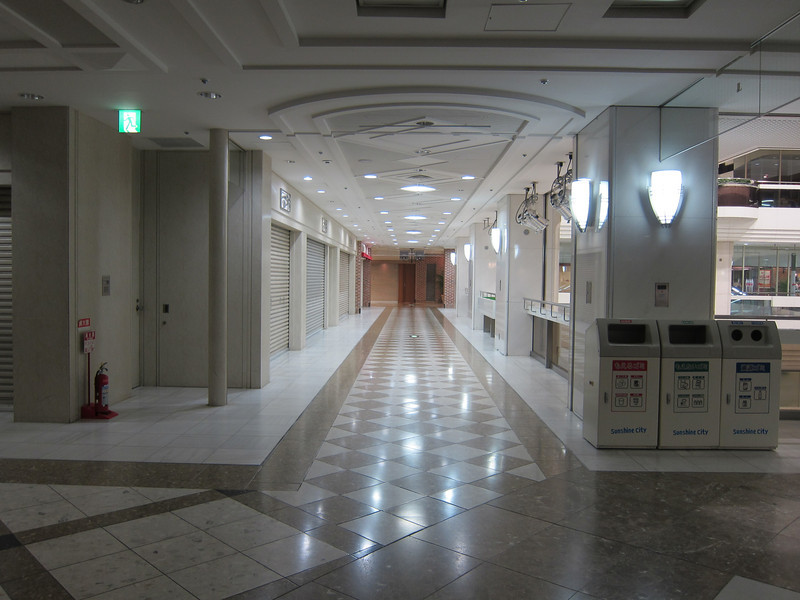 Outside the theme park. Miles of eerie corridors.