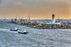 Sunset at the port of Yokohama, Japan, Asia.