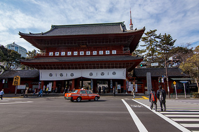 Japanese Taxi in Front of Zojoji Temple in Tokyo Japan