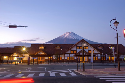 Train Station in Kawaguchi, Mt Fuji on the background. Japan.