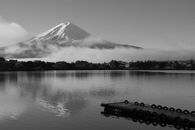 First Light on Mt. Fuji B+W