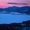 Dawn on Bihoro Pass Overlooking Lake in Winter