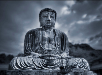 Big buddha's statue in Kamakura, Japan. Blue tone.