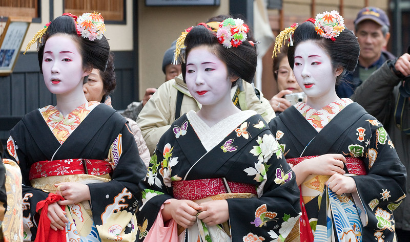 Three Geisha.  Gion district.  Kyoto.