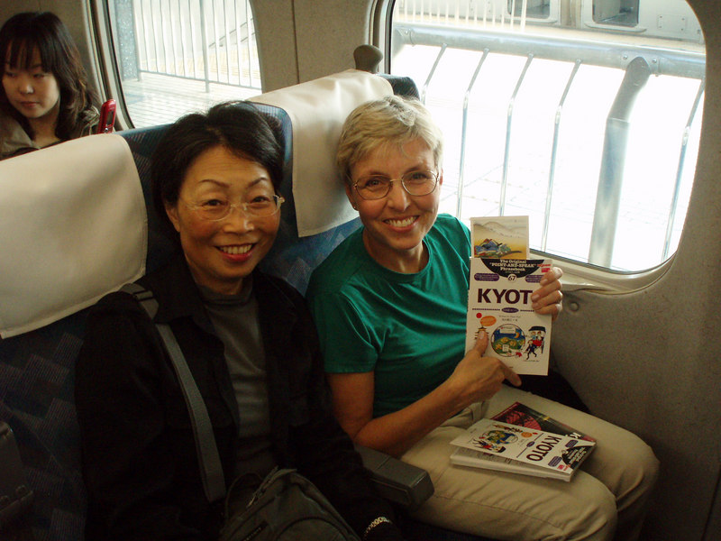 """Masanao, Chieko and I rode from Tokyo to Kyoto on the Nozomi Express -- the fastest and most luxurious Shinkansen (""""bullet"""" train)."""