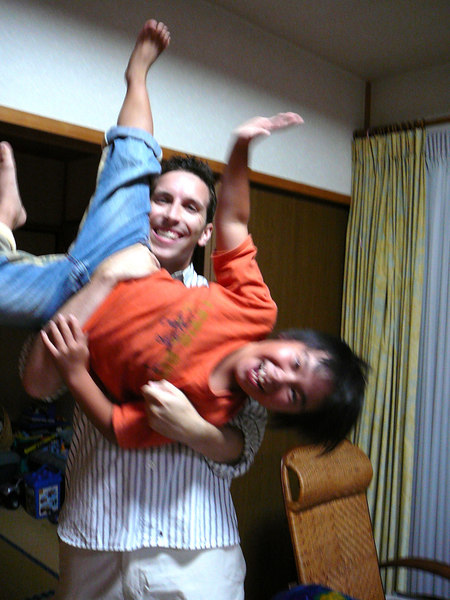 Jon and his 7-year old friend, Takumi.  Jon teaches his grandmother English in exchange for a meal once a week.  It works -- and exposes Taku to the language, too.
