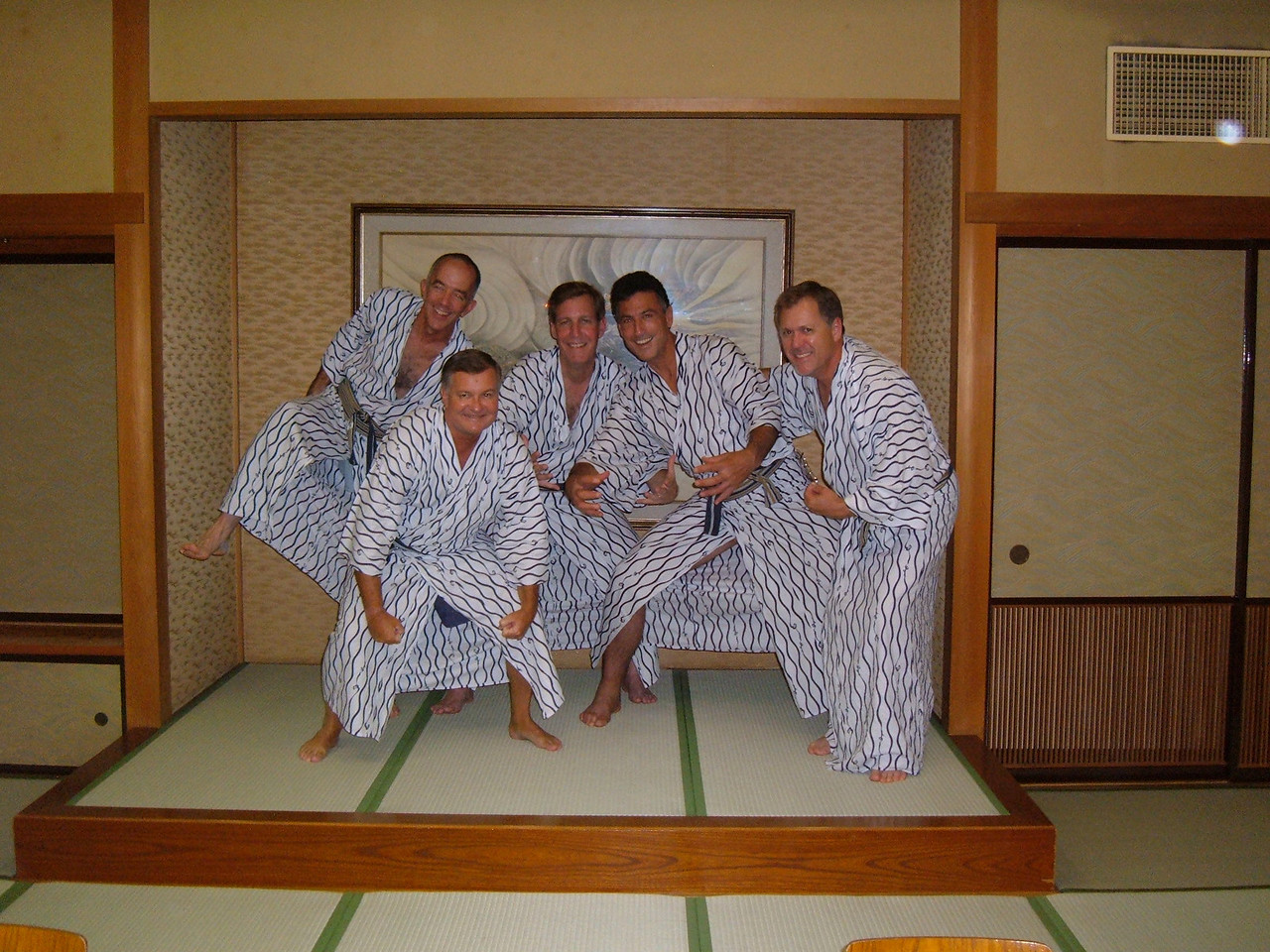 Bob and college roommates goofing at Hakone near Mt Fuji for Hot Springs Option