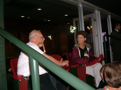 Leon and Bob's wife Margaret at Miyagi Stadium in Sendai - Home of Golden Eagles