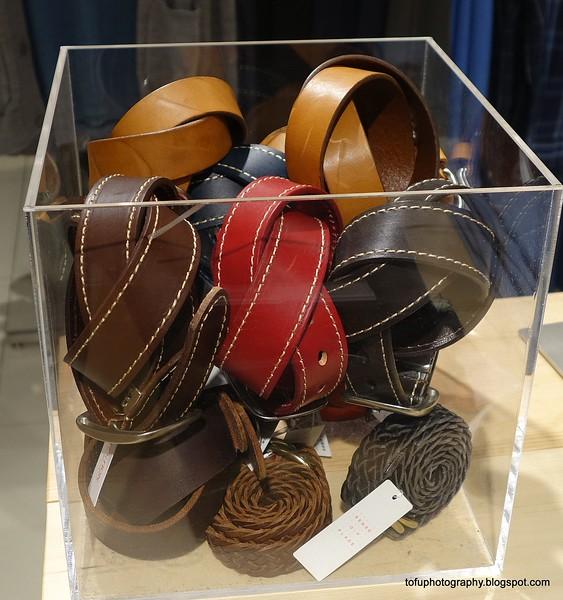 Belts for sale in a shop in Osaka, Japan in March 2015