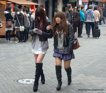 Two sexily dressed women in Osaka, Japan in March 2015