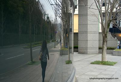 Fon walking down the road in Kyoto, Japan in March 2015
