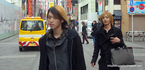 Stylish young men in Osaka, Japan in March 2015