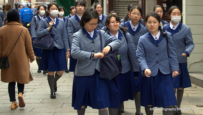 Schoolgirls in Nagasaki, Japan in March 2015