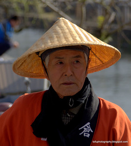 Boatman in Kurashiki, Japan in March 2015