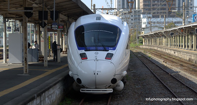 The train from Fukuoka to Nagasaki at the train station at Nagasaki, Japan in March 2015