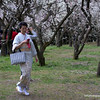 Woman in a kimono at the botanical gardens in Kyoto, Japan in March 2015