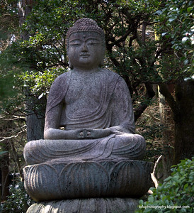 A stone buddha at Ryoanji Temple in Kyoto, Japan in March 2015
