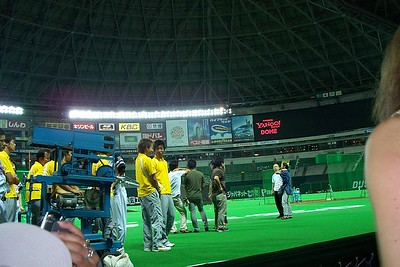 On field for batting practice at Fukuoka