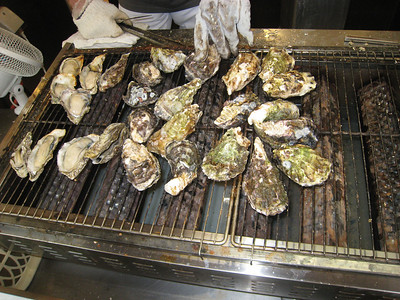 Grilled oysters on Miyajima Island--we had some