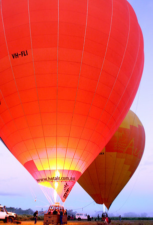 Taking off in a Hot Air Balloon at Sunrise
