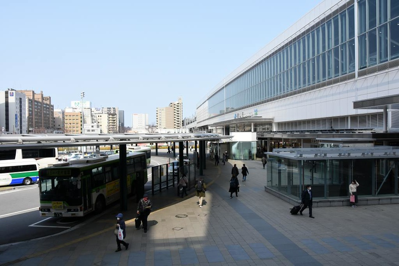 Toyama station, 29 March 2019. Looking to the JR station from outside the Dentetsu station.