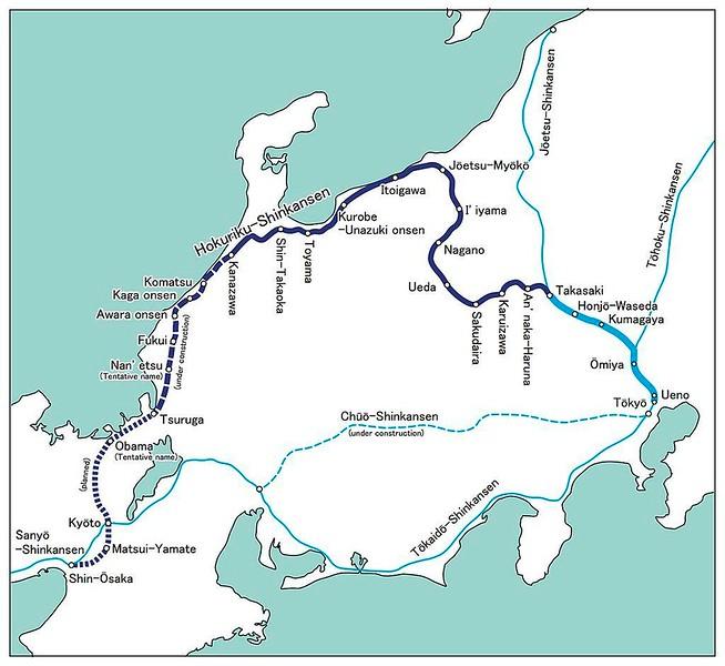 Wikimedia Hokuriku Shinksen map.  Shinkansen = New main line.