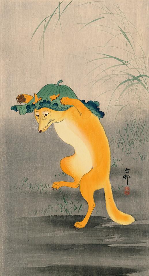Kitsune by Ohara Koson 1877-1945<br /> c1915 aka The Dancing Fox