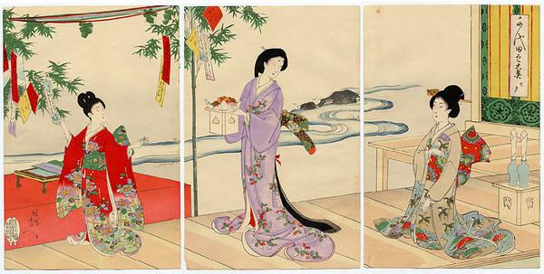 chikanobu_ThreeLadiesOffering 1895
