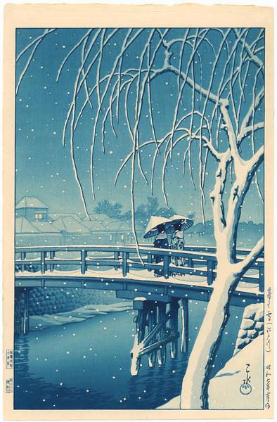 Evening Snow, Edo River <br /> - Blue Version