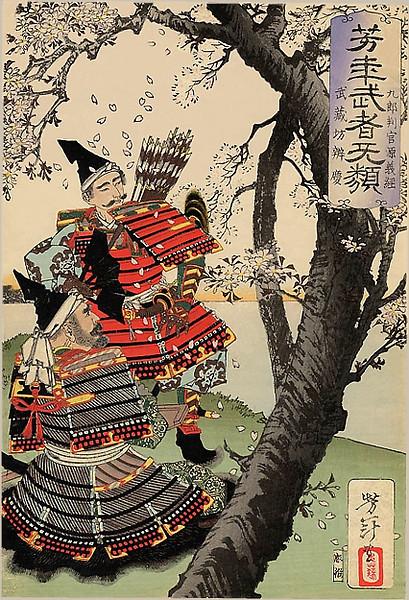 Yoshitsune and Benkei Viewing Cherry Blossoms