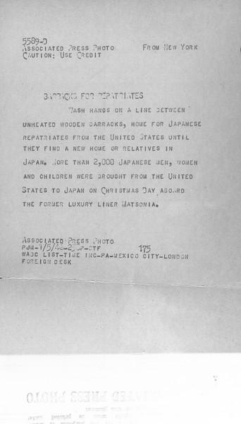 """Barracks for Repatriates"" -- caption on photograph"