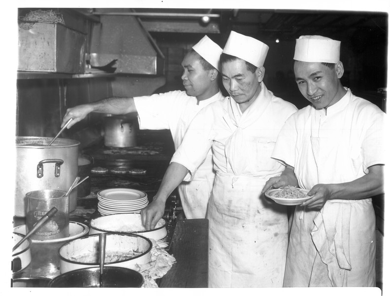 """""""Cooks at the Cherry Blossom Café in Los Angeles.  Left to right:  Fred Arzaga, Filipino"""