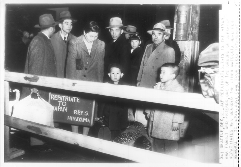 """""""Jap Repatriates -- This is the Hiyarama family and friends, on of the groups of Japanese repatriates who boarded the liner Matsonia in Seattle for removal to Japan.  Most came from Texas internment camp.""""--caption on photograph"""