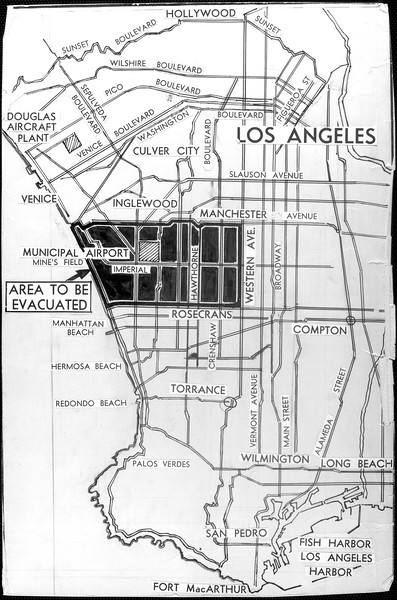 """""""All enemy aliens living in the above indicated evacuation area, an area thick with defense plants, must move by Feb. 24, the United States ordered yesterday.  Five miles wide, the zone extends 10 miles inland to Western Ave.""""--caption on photograph"""