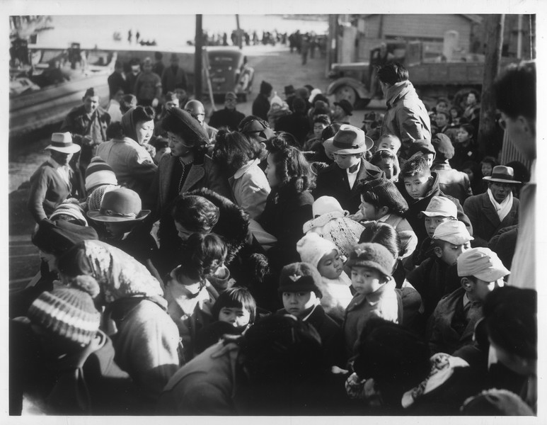 """Jap Repatriates on Way to Reception Center"" -- caption on photograph"