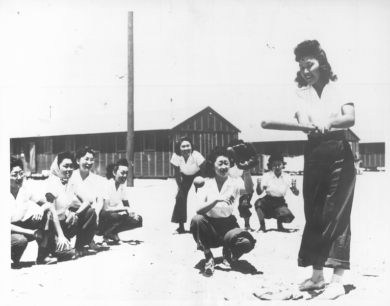 """""""'Batter Up' At Jap-American Relocation Center"""" -- caption on photograph"""