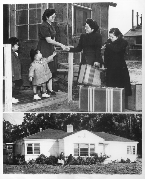 """Japanese-American Homecoming -- Under the Army's recent order permitting the return of those Japanese-Americans whose loyalty has been cleared, will be many happy people glad to return to their homes"" -- caption on photograph"