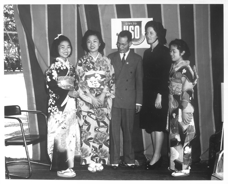 """Kyro Kamo, Haruye Tegachi, K. Mukaeda, , [...], Vernice Eddington, [...] and Fusako Tsuji"" -- caption on photograph"