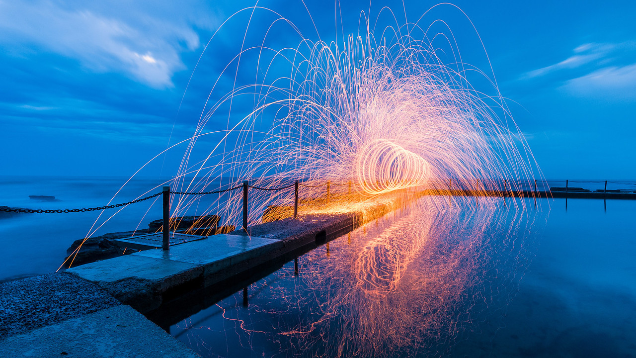 Ocean Pool at Avalon Beach, NSW, Australia  The first morning of summer 2012 in Australia, and the weather wasn't going to break for a sunrise, so I improvised with a steelwool spin.