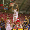 COLLEGE PARK, MD -- FEBRUARY 17, 2002 -- Maryland's Chris Wilcox slams in two of his game-high 23 points over the Duke defense in the second half of Sunday's showdown between nationally ranked powers in College Park.  The Terps never trail in an 87-73 win over the Blue Devils.  Staff photo/Doug Kapustin DIGITAL IMAGE 3491